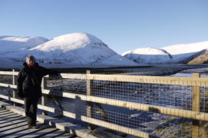 Margaret in a snowy Findhorn Valley