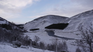 A snowy Findhorn Valley