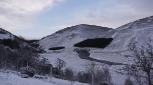 A snowy Findhorn Valley